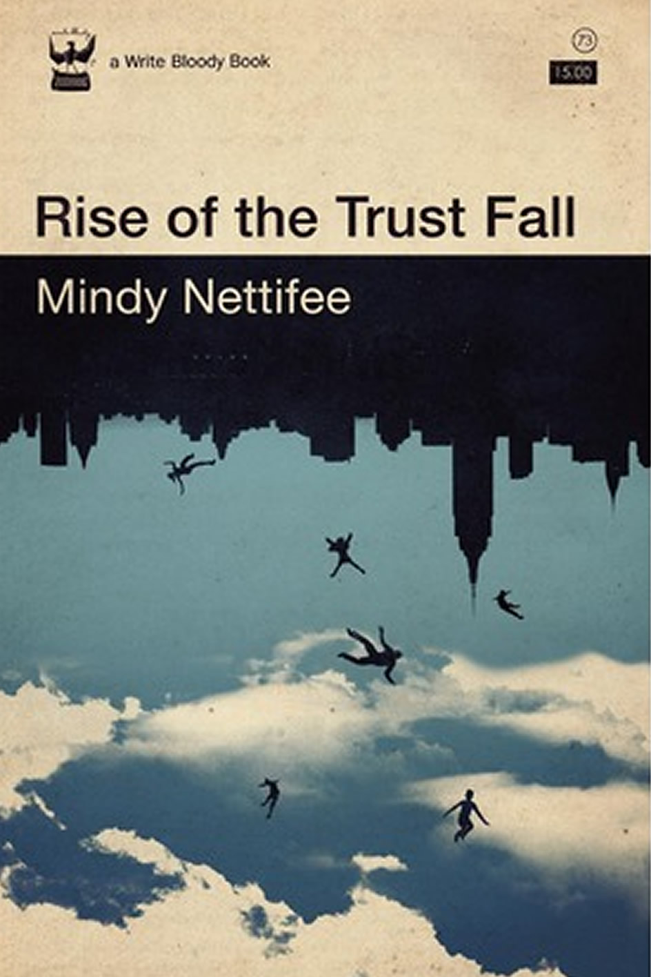 Book cover features an upside down city skyline with figures falling into a sky of clouds