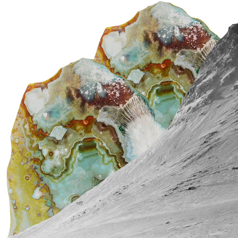 Two gem-like molecules of MDMA, in colors of gold and aquamarine and ruby, emerge like mountains from behind a black and white photo of a snowy mountain